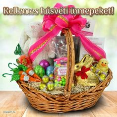 Likable Easter Gift Basket Idea Showing Rabbit Chocolate and Eggs Candy and Carrots Chocolate and White Bunny Doll Arranged on Rattan Basket and Decorated with Pink Bows Share Pictures, Animated Gifs, Easter Gift Baskets, Easter Season, Chocolate Gifts, Chocolate Candies, Easter Colors, Rattan Basket, Easter Celebration