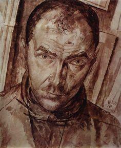 Kuzma Petrov-Vodkin (Russian: 1878-1939) - Self-portrait, 1921