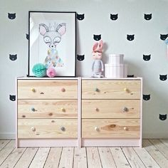 How amazing does this IKEA RAST ($49) look??? Love the soft pink on the sides with the pastel handles!! Soooo affordable and looks amazing!! Ps: love her floors and the adorable print (which she made)!! Xx This room is from Heidi Korsgard's beautiful home via Pinterest!! Totally my next DIY project! | Milka Interiors