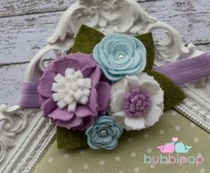 Light Blue Lilac and White  Wool Felt Rosette Flower by bubbipop, $13.99