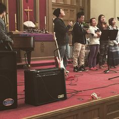 """Celebrating with the Burmese congregation today at Waterloo First. #rethinkchurch"""