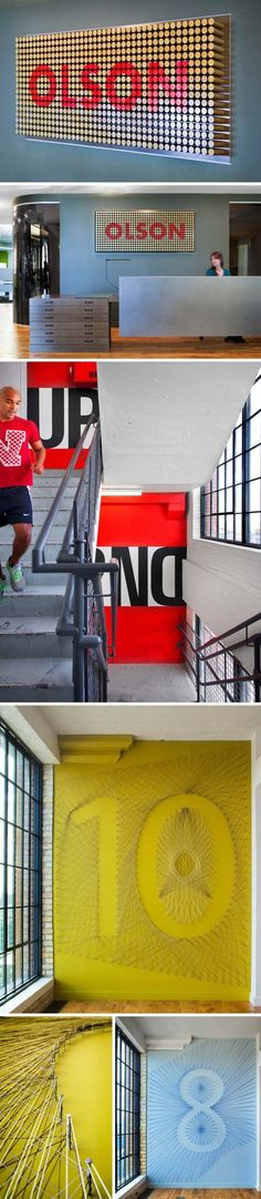Cool Typographic Environmental Graphics and signage by Gensler for Olson, environmental graphic design
