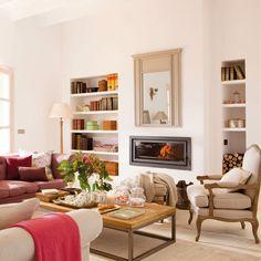 Hornacinas: qué son y cómo pueden cambiar tu vida Living Room Plan, Living Spaces, Feng Shui, Book Furniture, Dream Rooms, Living Room Interior, Cozy House, Decoration, New Homes