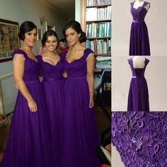 Purple Chiffon Corset Long Bridesmaids Dress, Formal Prom Dress