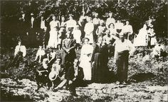 """The Baptism of """"Devil Anse"""" in Evangelist Garrett is on left sitting, Devil Anse is standing front right. This was a major turning point in the Hatfield family. Anse and son's laid down their guns and found peace and prosperity after World History, Family History, Old Pictures, Old Photos, Hatfield And Mccoy Feud, Vintage Baptism, Hatfields And Mccoys, The Mccoys, West Virginia History"""
