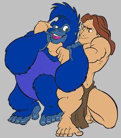 cliptarzanwrestle.gif (316×361) Disney Love, Walt Disney, Tarzan, Scooby Doo, Smurfs, Movies, Fictional Characters, Princess, Art