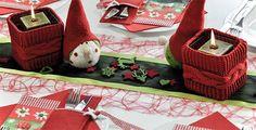 Tischdekoration in Rot / Grün mit Strick kaufen   Tischdeko-Shop