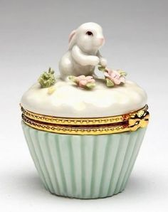 Porcelain Bunny Trinket Box. So sweet.