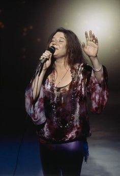 American rock singer Janis Joplin records a performance on the television show 'This is Tom Jones' 1969