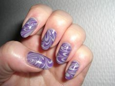 Water marble nail art, China glaze - Pelican gray, Paris memories - 278 Purple
