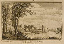 Te Buren aan de Linge - 1719, 1771  BeschrijvingGezicht op de stad Buren  Datering1771  MakerAbraham Rademaker fecit Prenten (Gelders Archief)