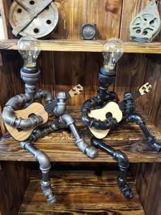 Legacy Lumination makes one of a kind Steampunk lamps/ black Iron pipe lamps to be the talk of your space! Metal Pipe, Iron Pipe, Metal Art, Plumbing Pipe, Barber Shop Decor, Wood Shop Projects, Pipe Decor, Pipe Lighting, Home Bar Designs