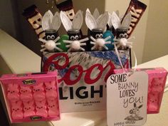 Cheers beers bunny ears cute way to bring booze over to easter basket for husband or him negle Images