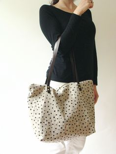 Black Polka Dots Zip Tote / Milkhaus Design