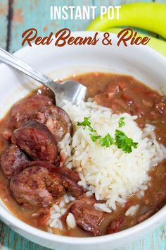 Easy and delicious Instant Pot Red Beans and Rice. #thisolemom #dinner #dinnerrecipes #instantpot #redbeans #rice #southern