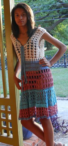 Crochet Color Block Sun Dress With Front Tie Swimsuit by niseylee, Etsy