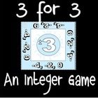 """""""3 for 3"""" integer review game - great test review or center activity! $1.00"""