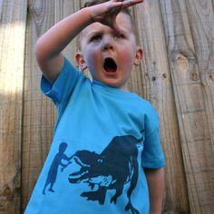 "Rarrr!!! Master Moodie and his ""Dinosaur.. Fetch"" tee."