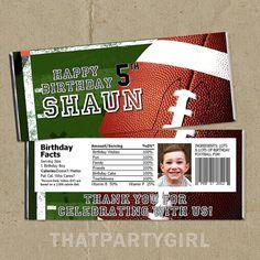 DIY Football Birthday Party Candy Bar Wrappers - Digital U Print on Etsy, $11.99