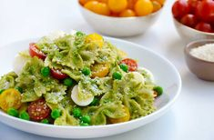 Skip the store-bought salads in favor of a 30-minute recipe for creamy pea pesto pasta salad with tomatoes and mozzarella.