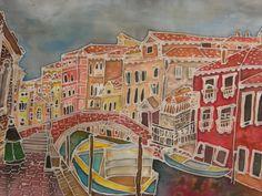 my painting, Venice, batik, painting on silk Batik Art, Silk Art, Silk Painting, Contemporary Artists, Textile Art, Venice, Original Art, Art Night, Textiles