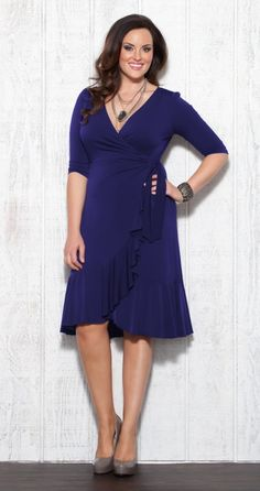Curvy fashion: Plus Size Dress Whimsy Wrap in cobalt blue.