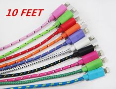 iPhone 4/4s, 5/5s iPad 2,3 HTC Samsung S3 S4 Charger Sync USB Cable 10 Feet Cord ios7 on Etsy, $9.50