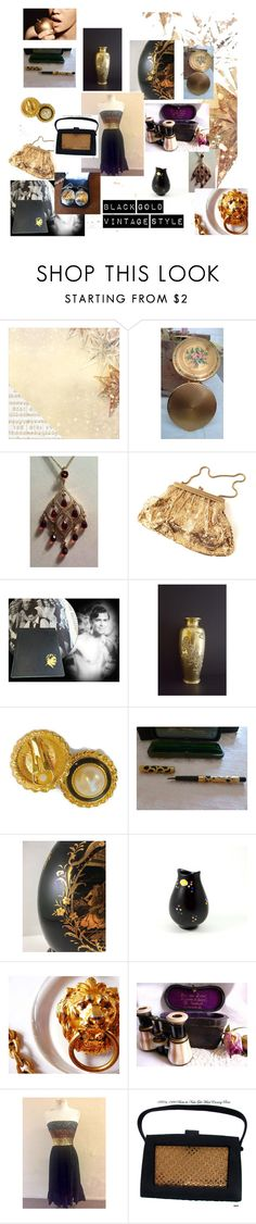 """""""Black Gold Vintage Style"""" by hbjewelry on Polyvore featuring Kaisercraft, vintage, blackandgold, vintagevogue and vintagegold"""