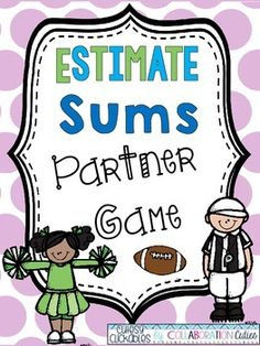 Estimate Sums Partner Game {Football Theme} FREE