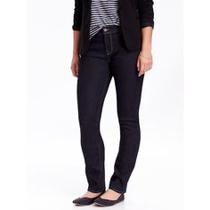 Old Navy Womens Curvy Straight Jeans ($25) ❤ liked on Polyvore featuring jeans, blue, petite, petite white jeans, petite jeans, denim jeans, blue jeans and stretch jeans