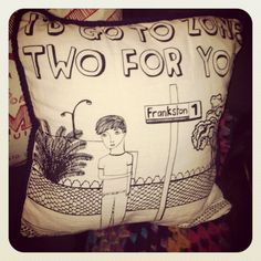 I'd go to Zone Two for You tea towel pillow