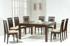 Contemporary Dining Table Sets Dark Walnut Modern Dining Table W/glass Inlay & Optional Chairs Dining Room Sets, Square Dining Room Table, Glass Dining Table, Dining Decor, Modern Dining Table, Dining Table In Kitchen, Dining Room Chairs, Contemporary Dining Room Lighting, Contemporary Furniture