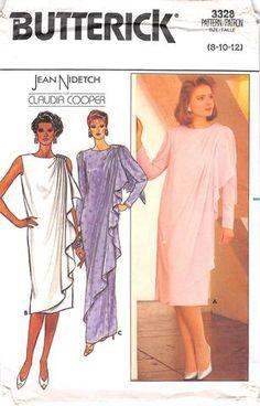 BUTTERICK 3328 - FROM 1985 - UNCUT - MISSES EVENING DRESS