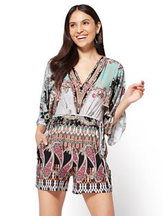 bdffd3b3a5f8 Shop V-Neck Kimono Romper - Mixed Print. Find your perfect size online at