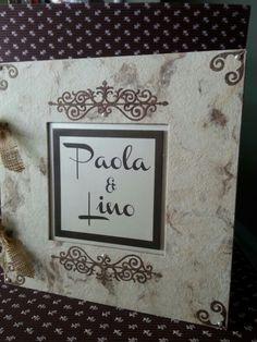 Album duro de papel amate en color perla y café...diseño Adriana Cano Ramos