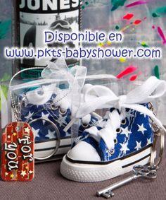 Recuerdos para Baby Shower - Llavero Tenis Converse Azul - Disponible en www.pkts-babyshower.com