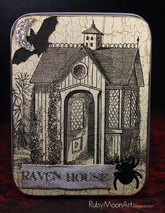 Raven house altered tin for Halloween swap