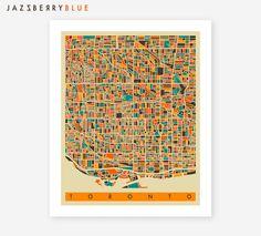 TORONTO Map, Giclee Fine Art Print, Home Decor, Pop Art City Maps by Modern Artist Jazzberry Blue City Maps, Modern Artists, Toronto, Pop Art, Fine Art Prints, Unique Jewelry, Sweet, Handmade Gifts, Blue