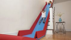 SlideRider, a Foldable Device that Turns Stairs Into Indoor Slide #Kids, #Slide, #Stairs