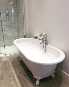 The freestanding roll top bath has been fitted with beautiful white feet. The tap chosen by Rachel is a traditionally inspired bath shower mixer tap. Jacuzzi Bathroom, Bathroom Taps, Taps Bath, Bathroom Plants, White Bathroom, Small Bathroom, Bathroom Ideas, Tranquil Bathroom, Bath Shower Combination