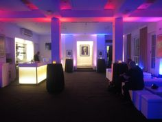 BAFTA 195 London Event Venue - Foyer Bar with Blue and Pink Lighting and a selection of soft seating