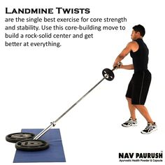The core is the body's great stabilizer, and landmine twists #engage the entirety of the #muscle and tone the obliques, which are crucial to protecting your lower back and spine.. #Navpaurush #FastWeightGain #GainWeight #HerbalWeightGainer #Workout #Fitness #bestweightgainer