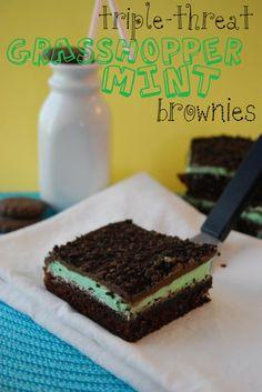 Triple-Threat Grasshopper Mint Brownies