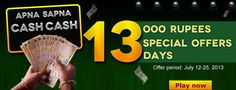 "Classic Rummy introduces a New, Exciting ""Special 13 offers"", where you can win Rs.1000 per offer while playing ‪‎rummy‬ ‪online‬.  For more details about the offer click the link : https://www.classicrummy.com/content/apna-sapna-cash-cash-13-special-offers?link_name=CR-12"