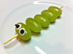 easy, cute and funny!  It's caterpillar grapes.  Desert made fun for a kid!