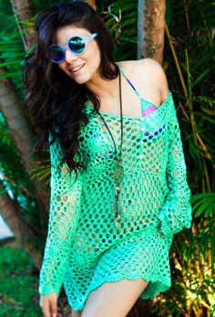 crochelinhasagulhas: Saída de praia  verde em crochê