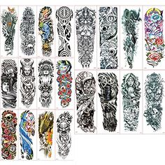 Vkenis 20PCS Full Arm Temporary Tattoos Waterproof Tattoo Stickers 177359145CM15CM Large Size with Random Gifts ABCDE  ** You can get additional details at the image link.