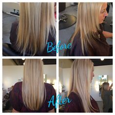 Hair extensions before and after by Rachel Voss