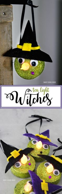 Tea Light Witches are very easy to make and look SO CUTE! Turn on the light and the flame becomes the witch's glowing nose for nighttime Halloween decor. (Diy Halloween Citrouille)