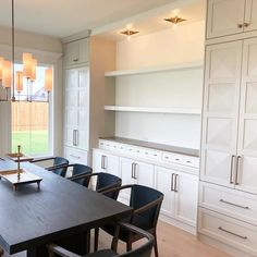 Dining Room Buffet, Dining Room Walls, Dining Room Design, Dining Room Storage Cabinets, Dining Room With Bar, Wall Of Kitchen Cabinets, Built In Buffet, Ikea Built In, Built In Bar Cabinet